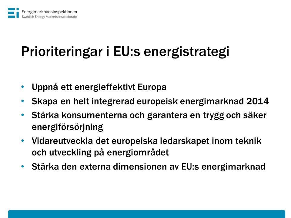 Prioriteringar i EU:s energistrategi • Uppnå ett energieffektivt Europa • Skapa en helt integrerad europeisk energimarknad 2014 • Stärka konsumenterna och garantera en trygg och säker energiförsörjning • Vidareutveckla det europeiska ledarskapet inom teknik och utveckling på energiområdet • Stärka den externa dimensionen av EU:s energimarknad