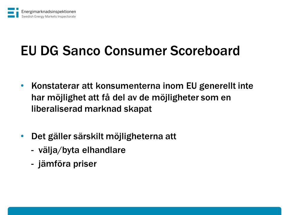 EU DG Sanco Consumer Scoreboard • Konstaterar att konsumenterna inom EU generellt inte har möjlighet att få del av de möjligheter som en liberaliserad marknad skapat • Det gäller särskilt möjligheterna att - välja/byta elhandlare - jämföra priser