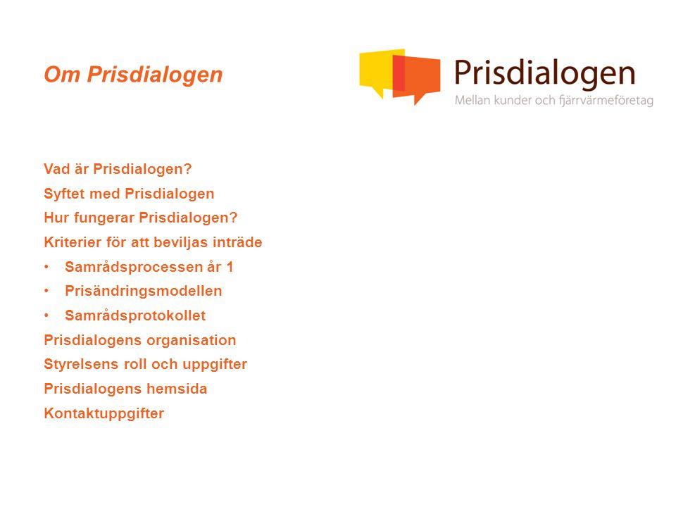 Om Prisdialogen Vad är Prisdialogen. Syftet med Prisdialogen Hur fungerar Prisdialogen.
