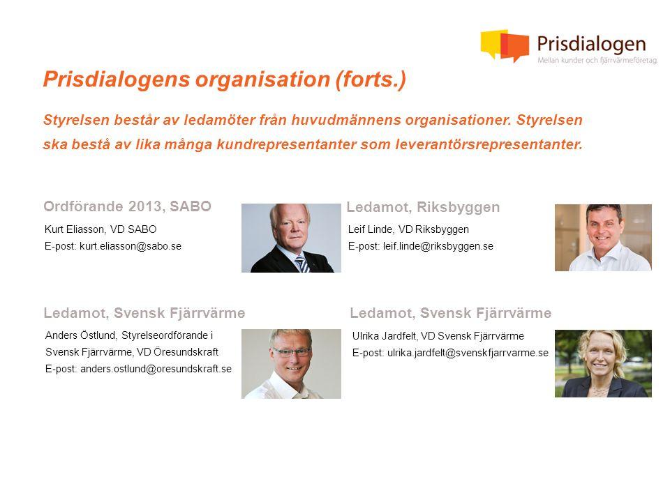 Prisdialogens organisation (forts.) Styrelsen består av ledamöter från huvudmännens organisationer.