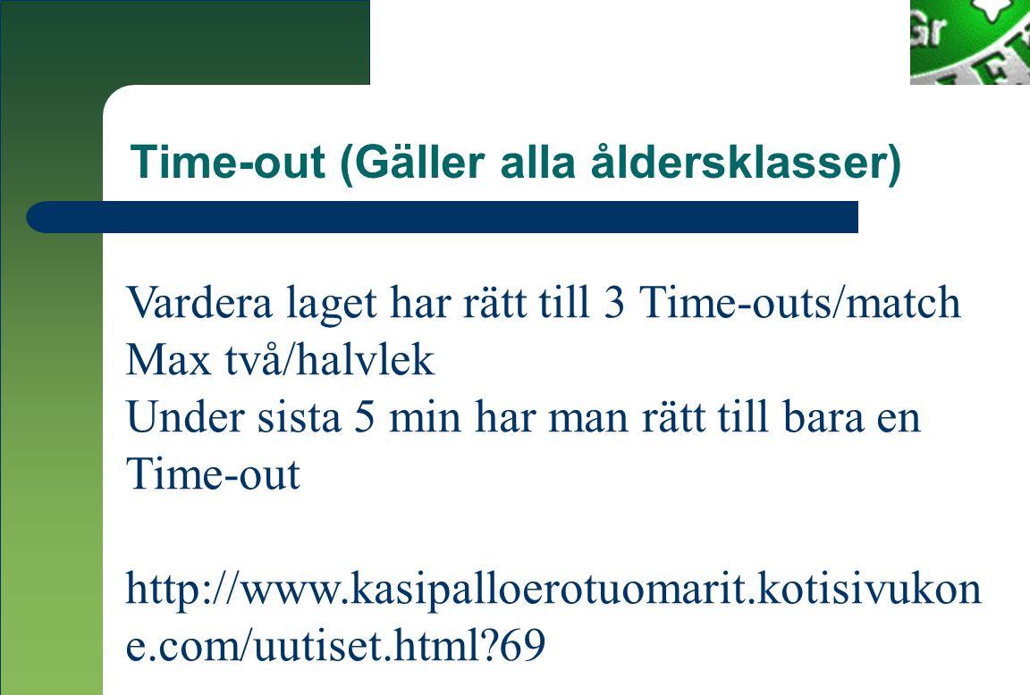 Time-out (Gäller alla åldersklasser) Vardera laget har rätt till 3 Time-outs/match Max två/halvlek Under sista 5 min har man rätt till bara en Time-out http://www.kasipalloerotuomarit.kotisivukon e.com/uutiset.html 69