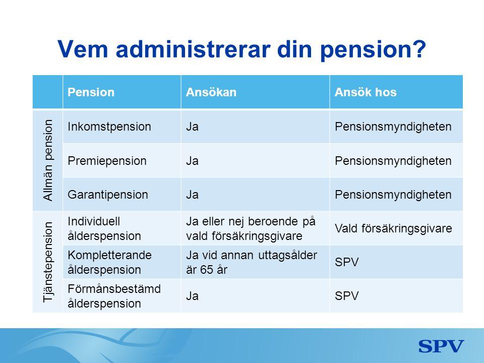 Vem administrerar din pension? PensionAnsökanAnsök hos Allmän pension InkomstpensionJaPensionsmyndigheten PremiepensionJaPensionsmyndigheten Garantipe