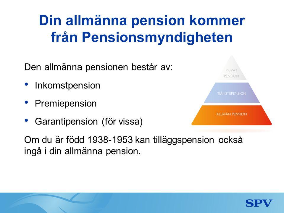 Din allmänna pension kommer från Pensionsmyndigheten Den allmänna pensionen består av: • Inkomstpension • Premiepension • Garantipension (för vissa) O