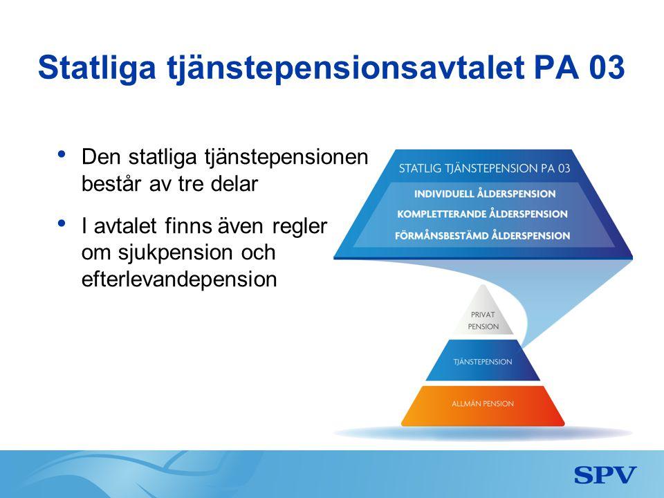 Statliga tjänstepensionsavtalet PA 03 • Den statliga tjänstepensionen består av tre delar • I avtalet finns även regler om sjukpension och efterlevand