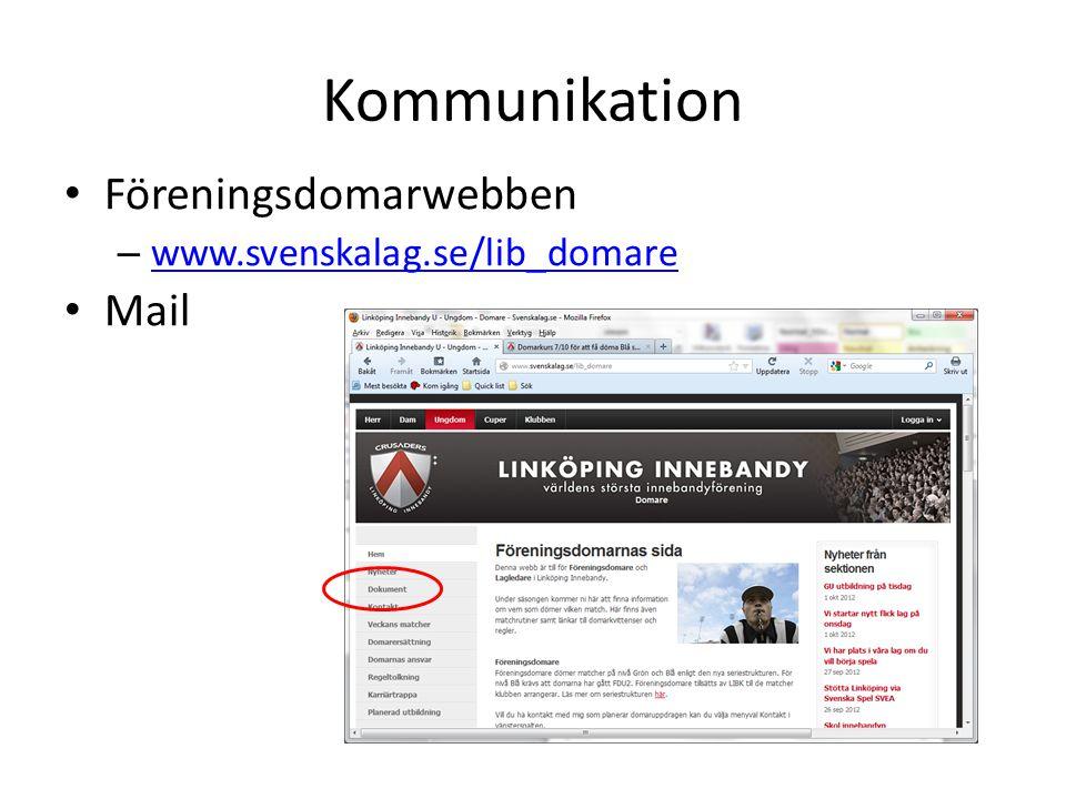 Kommunikation • Föreningsdomarwebben – www.svenskalag.se/lib_domare www.svenskalag.se/lib_domare • Mail