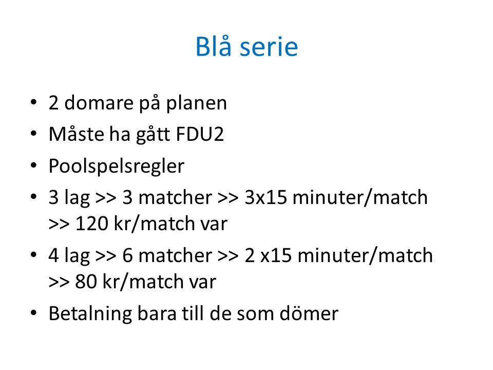 Blå serie • 2 domare på planen • Måste ha gått FDU2 • Poolspelsregler • 3 lag >> 3 matcher >> 3x15 minuter/match >> 120 kr/match var • 4 lag >> 6 matc