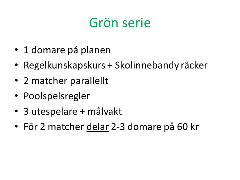 Grön serie • 1 domare på planen • Regelkunskapskurs + Skolinnebandy räcker • 2 matcher parallellt • Poolspelsregler • 3 utespelare + målvakt • För 2 m
