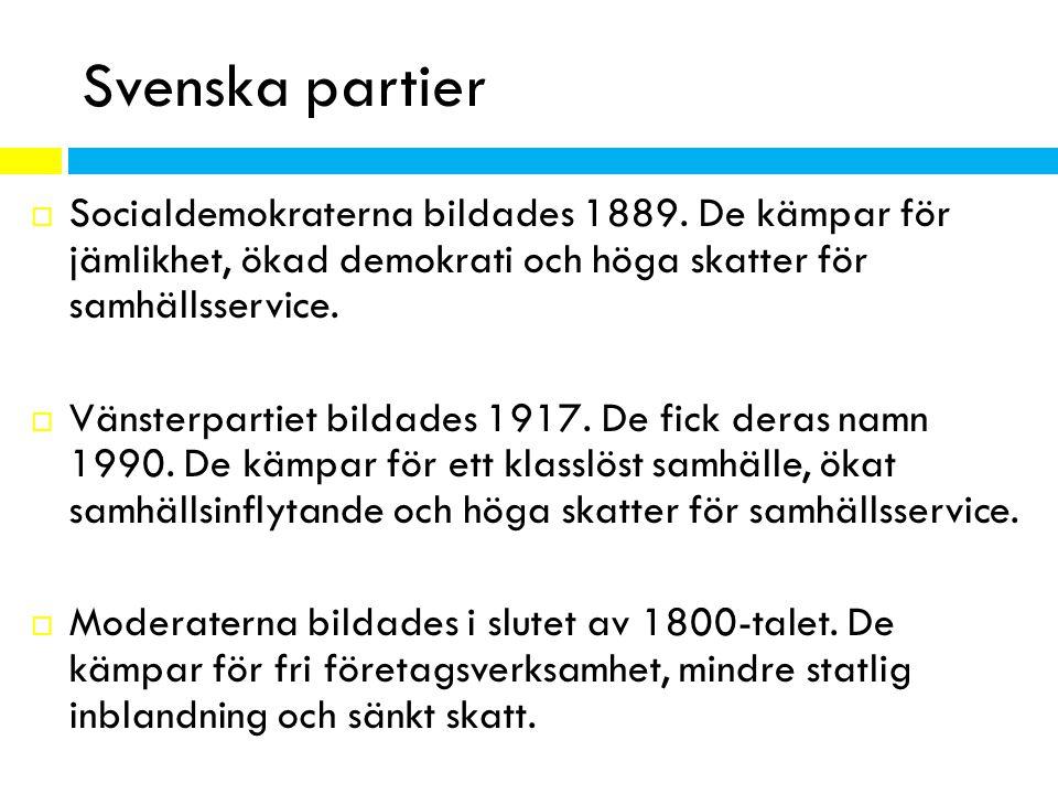 Svenska partier  Socialdemokraterna bildades 1889. De kämpar för jämlikhet, ökad demokrati och höga skatter för samhällsservice.  Vänsterpartiet bil