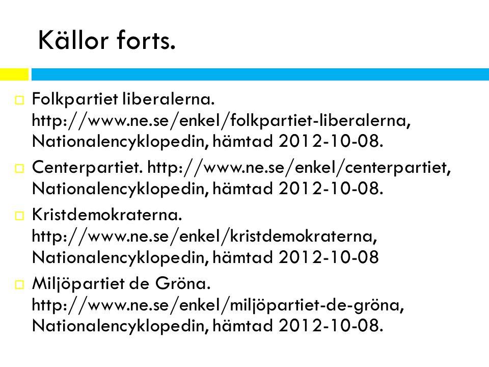 Källor forts.  Folkpartiet liberalerna. http://www.ne.se/enkel/folkpartiet-liberalerna, Nationalencyklopedin, hämtad 2012-10-08.  Centerpartiet. htt