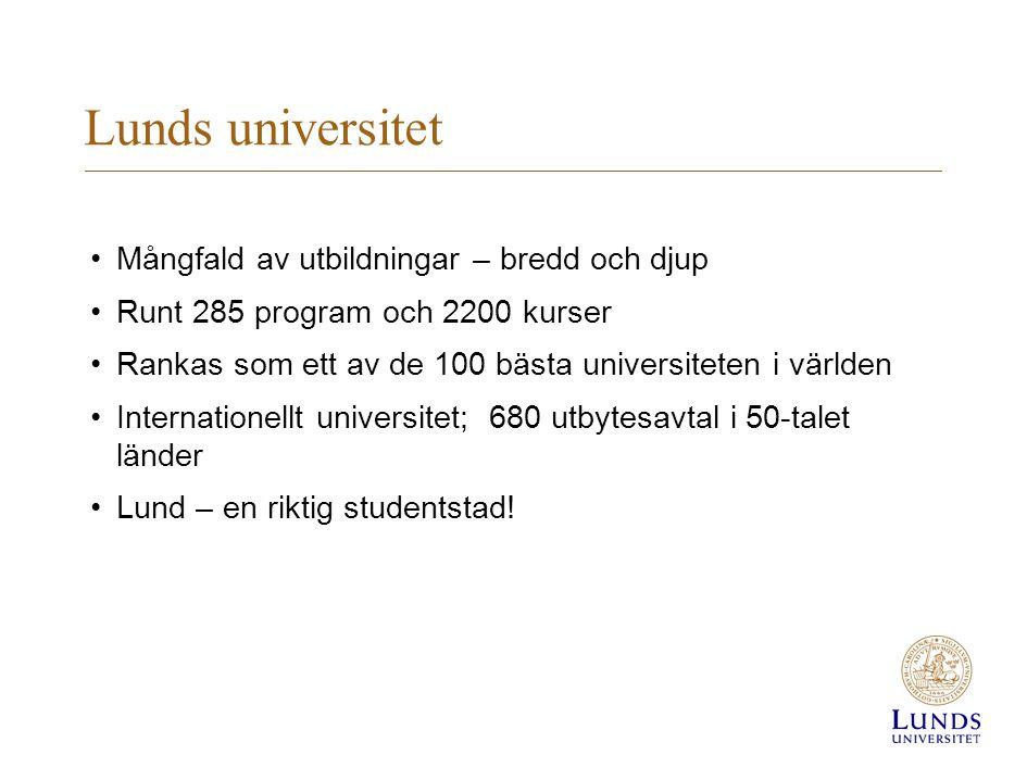 Lunds universitet •Mångfald av utbildningar – bredd och djup •Runt 285 program och 2200 kurser •Rankas som ett av de 100 bästa universiteten i världen •Internationellt universitet; 680 utbytesavtal i 50-talet länder •Lund – en riktig studentstad!