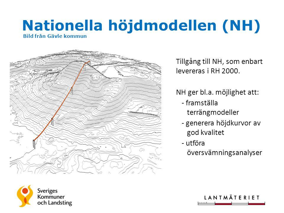 Nationella höjdmodellen (NH) Bild från Gävle kommun Tillgång till NH, som enbart levereras i RH 2000.