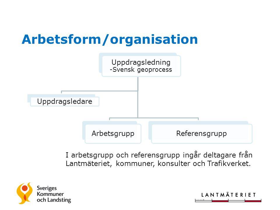 Arbetsform/organisation Uppdragsledning -Svensk geoprocess Uppdragsledare Arbetsgrupp Referensgrupp I arbetsgrupp och referensgrupp ingår deltagare från Lantmäteriet, kommuner, konsulter och Trafikverket.