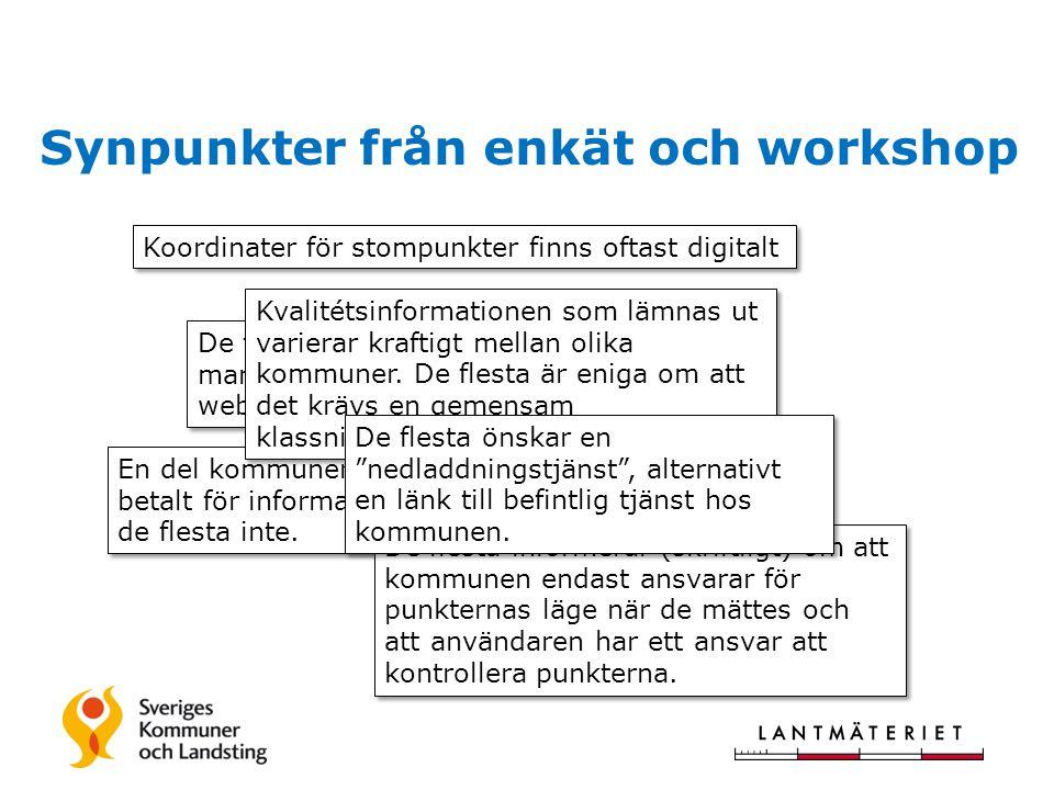 Synpunkter från enkät och workshop Koordinater för stompunkter finns oftast digitalt De flesta leveranser sker manuellt via e-post, några webtjänster finns.