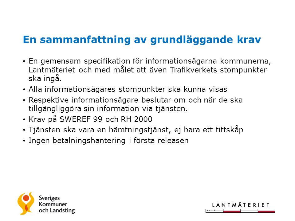 En sammanfattning av grundläggande krav • En gemensam specifikation för informationsägarna kommunerna, Lantmäteriet och med målet att även Trafikverkets stompunkter ska ingå.