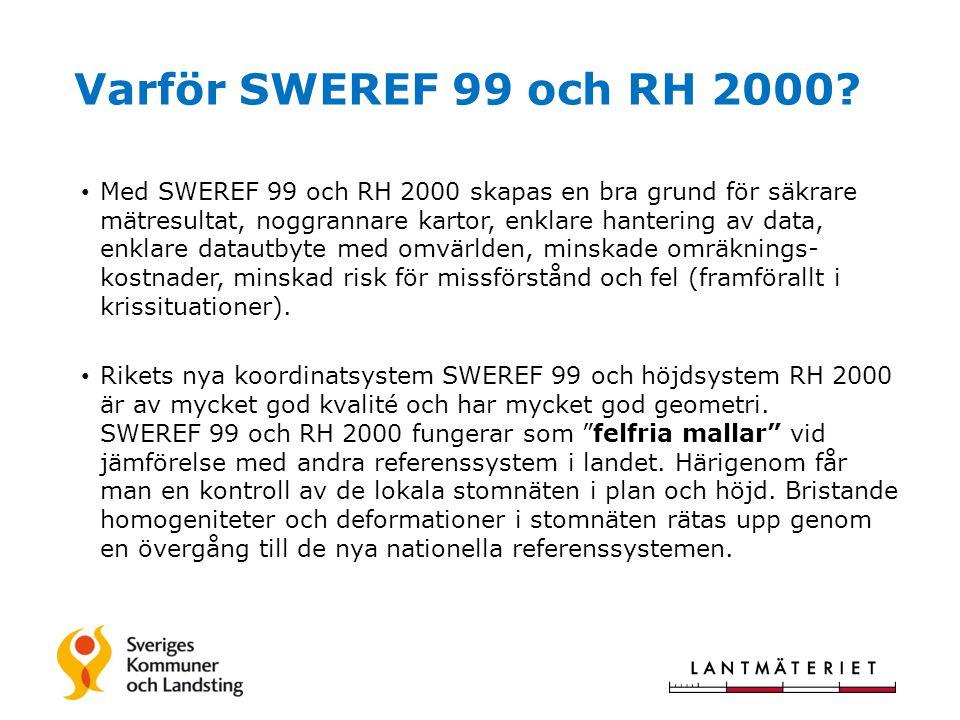 Varför SWEREF 99 och RH 2000.