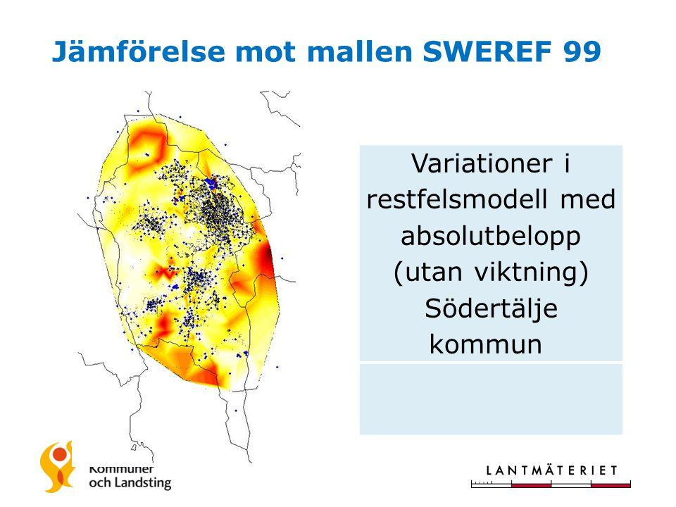 Jämförelse mot mallen SWEREF 99 Variationer i restfelsmodell med absolutbelopp (utan viktning) Södertälje kommun