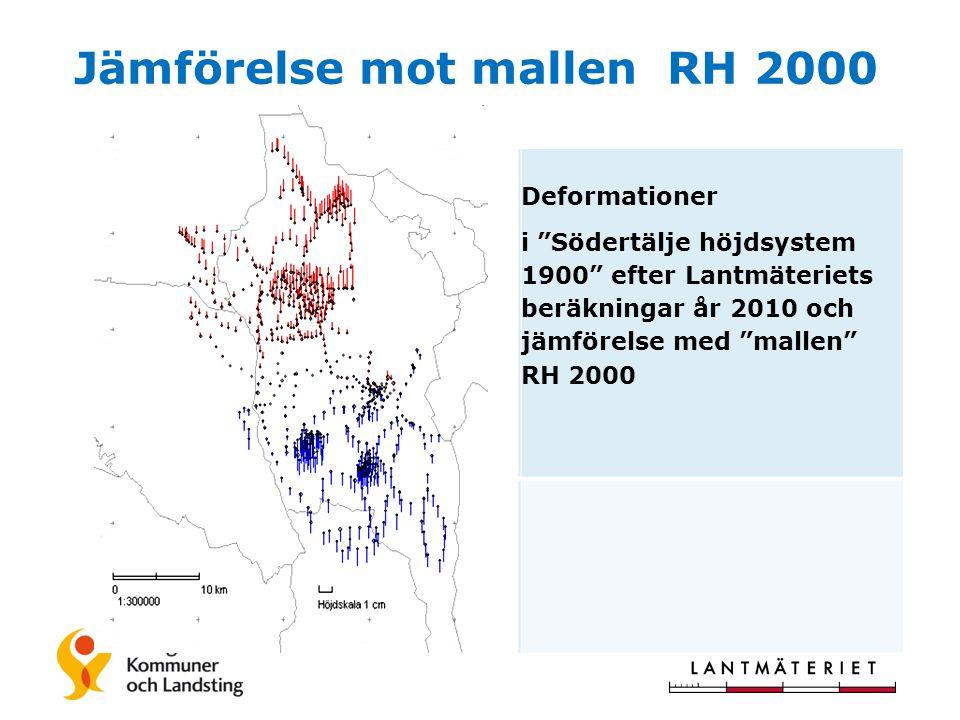 Jämförelse mot mallen RH 2000 Deformationer i Södertälje höjdsystem 1900 efter Lantmäteriets beräkningar år 2010 och jämförelse med mallen RH 2000