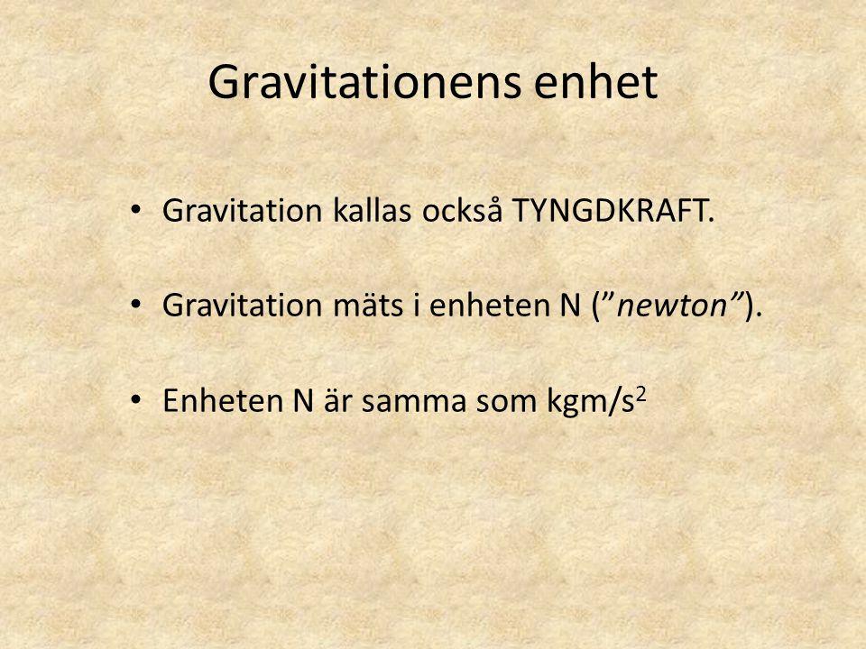 """Gravitationens enhet • Gravitation kallas också TYNGDKRAFT. • Gravitation mäts i enheten N (""""newton""""). • Enheten N är samma som kgm/s 2"""