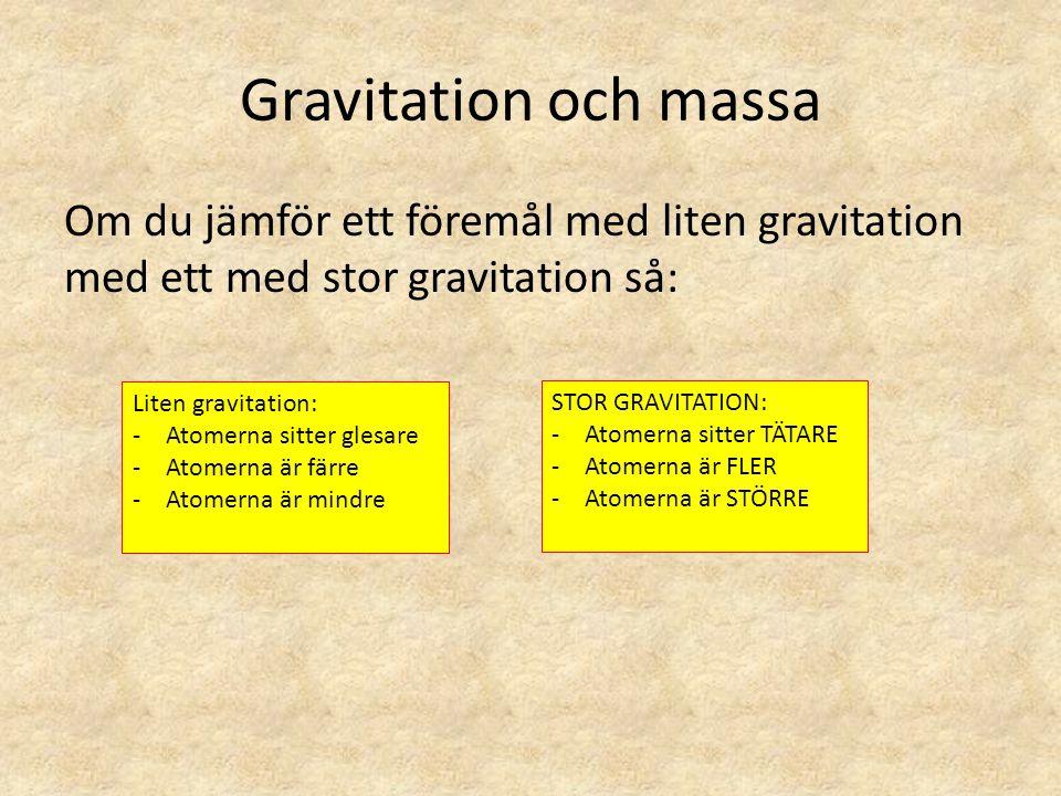 Gravitation och massa Om du jämför ett föremål med liten gravitation med ett med stor gravitation så: Liten gravitation: -Atomerna sitter glesare -Ato