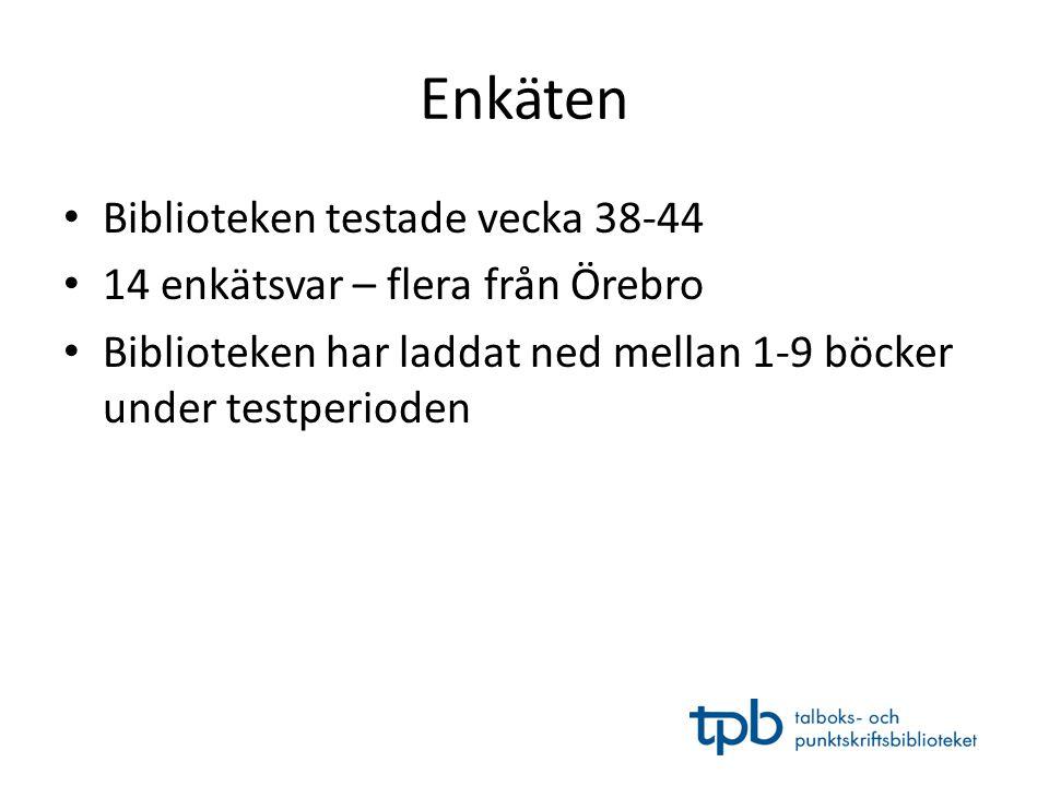 Enkäten • Biblioteken testade vecka 38-44 • 14 enkätsvar – flera från Örebro • Biblioteken har laddat ned mellan 1-9 böcker under testperioden