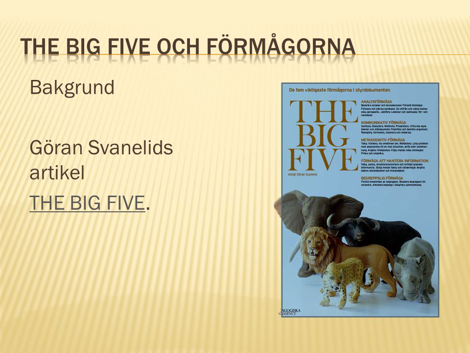 Bakgrund Göran Svanelids artikel THE BIG FIVETHE BIG FIVE.
