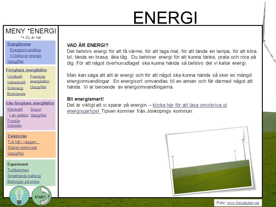 Foto: www.fotoakuten.sewww.fotoakuten.se START VAD ÄR ENERGI? Det behövs energi för att få värme, för att laga mat, för att tända en lampa, för att kö