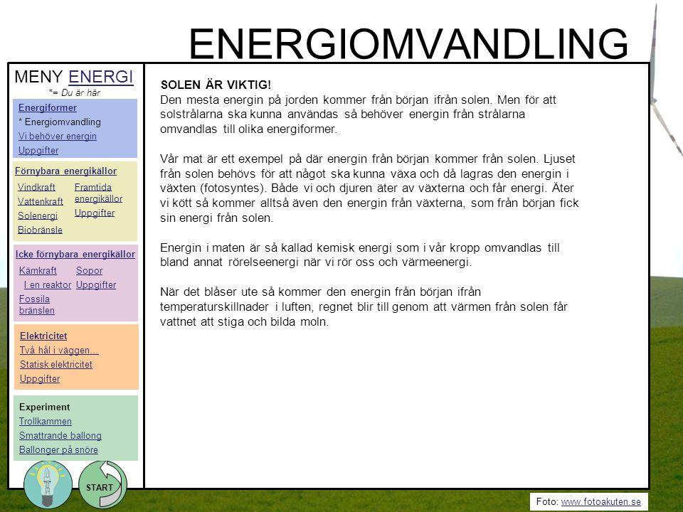 Foto: www.fotoakuten.sewww.fotoakuten.se START SOLEN ÄR VIKTIG! Den mesta energin på jorden kommer från början ifrån solen. Men för att solstrålarna s