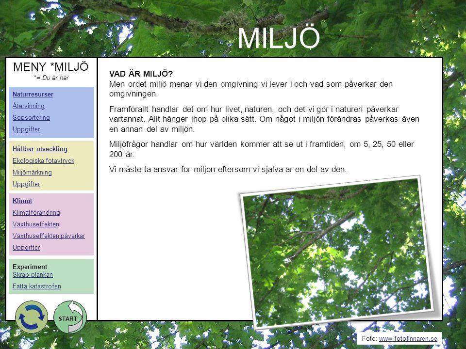 Foto: www.fotofinnaren.sewww.fotofinnaren.se START Klimat Klimatförändring Växthuseffekten Växthuseffekten påverkar Uppgifter VAD ÄR MILJÖ? Men ordet