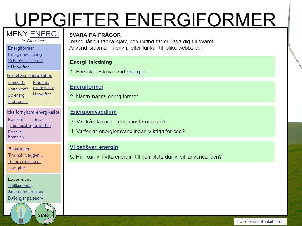 Foto: www.fotoakuten.sewww.fotoakuten.se START UPPGIFTER ENERGIFORMER SVARA PÅ FRÅGOR Ibland får du tänka själv, och ibland får du läsa dig till svare