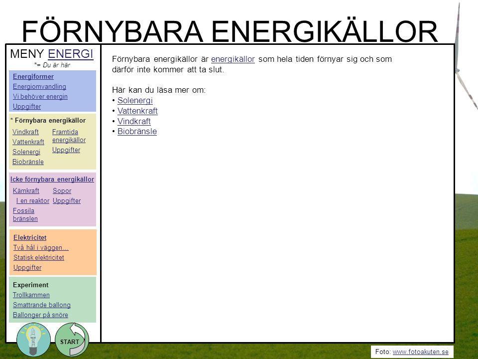 Foto: www.fotoakuten.sewww.fotoakuten.se START Förnybara energikällor är energikällor som hela tiden förnyar sig och som därför inte kommer att ta slu