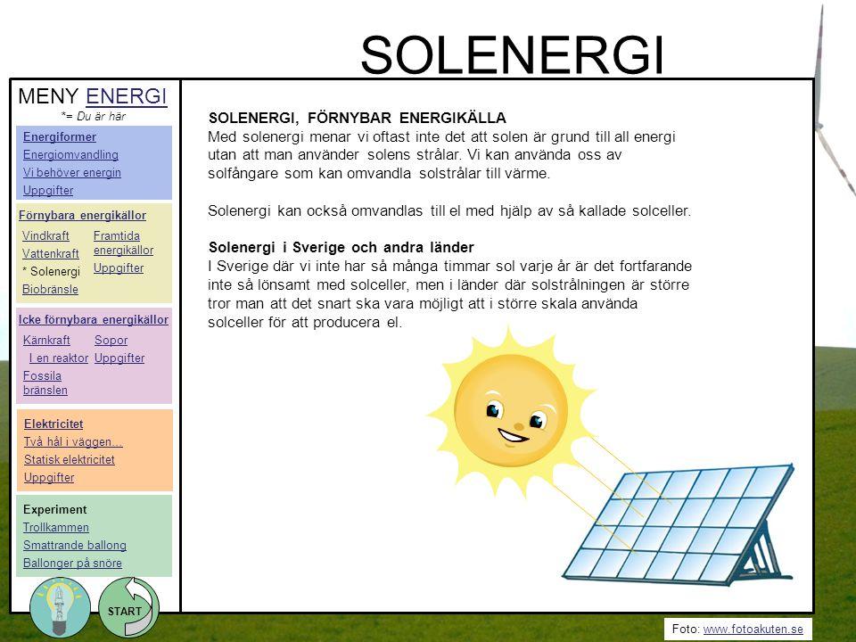 Foto: www.fotoakuten.sewww.fotoakuten.se START SOLENERGI, FÖRNYBAR ENERGIKÄLLA Med solenergi menar vi oftast inte det att solen är grund till all ener