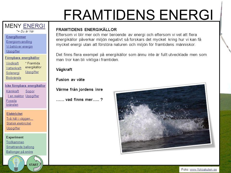Foto: www.fotoakuten.sewww.fotoakuten.se START FRAMTIDENS ENERGIKÄLLOR Eftersom vi blir mer och mer beroende av energi och eftersom vi vet att flera e