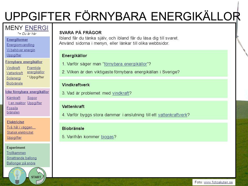 Foto: www.fotoakuten.sewww.fotoakuten.se START UPPGIFTER FÖRNYBARA ENERGIKÄLLOR SVARA PÅ FRÅGOR Ibland får du tänka själv, och ibland får du läsa dig