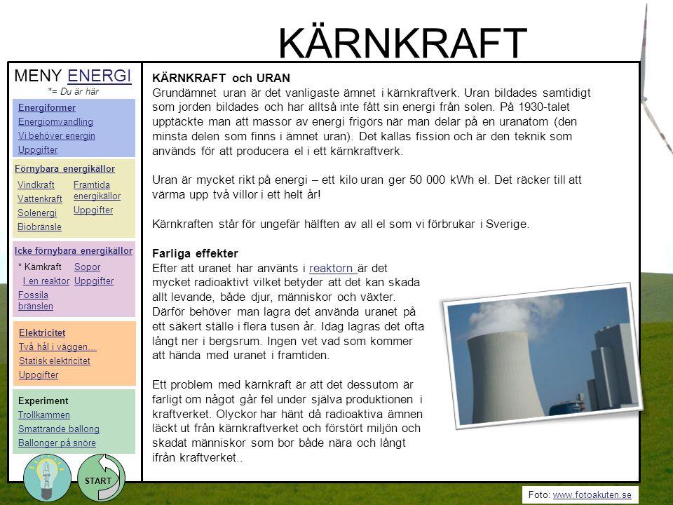 Foto: www.fotoakuten.sewww.fotoakuten.se START KÄRNKRAFT och URAN Grundämnet uran är det vanligaste ämnet i kärnkraftverk. Uran bildades samtidigt som