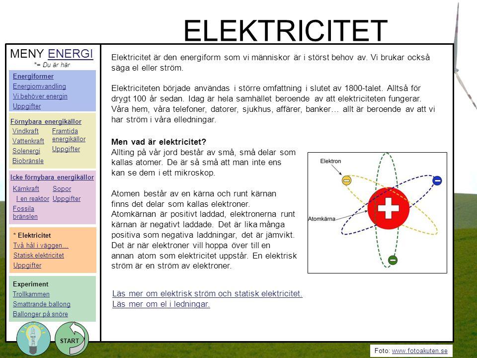 Foto: www.fotoakuten.sewww.fotoakuten.se START Elektricitet är den energiform som vi människor är i störst behov av. Vi brukar också säga el eller str