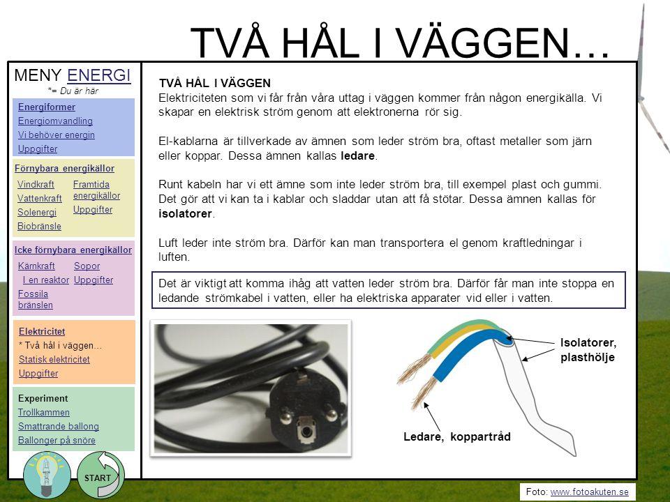Foto: www.fotoakuten.sewww.fotoakuten.se START TVÅ HÅL I VÄGGEN… TVÅ HÅL I VÄGGEN Elektriciteten som vi får från våra uttag i väggen kommer från någon