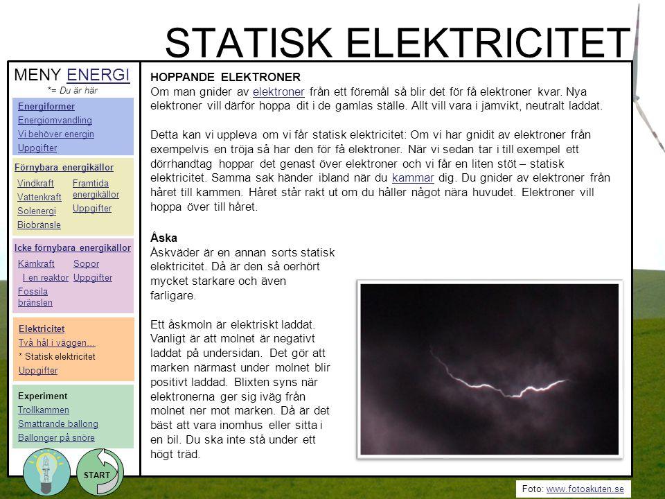 Foto: www.fotoakuten.sewww.fotoakuten.se START STATISK ELEKTRICITET HOPPANDE ELEKTRONER Om man gnider av elektroner från ett föremål så blir det för f