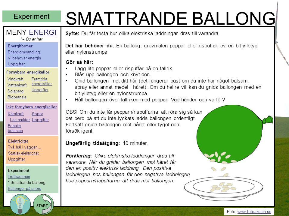 Foto: www.fotoakuten.sewww.fotoakuten.se START SMATTRANDE BALLONG Gör så här: •Lägg lite peppar eller rispuffar på en tallrik. •Blås upp ballongen och