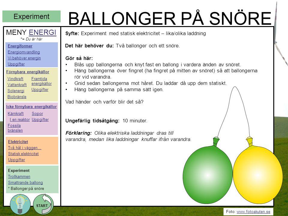Foto: www.fotoakuten.sewww.fotoakuten.se START BALLONGER PÅ SNÖRE Gör så här: •Blås upp ballongerna och knyt fast en ballong i vardera änden av snöret