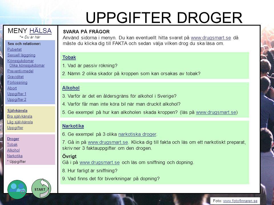 START Foto: www.fotofinnaren.sewww.fotofinnaren.se UPPGIFTER DROGER SVARA PÅ FRÅGOR Använd sidorna i menyn. Du kan eventuellt hitta svaret på www.drug