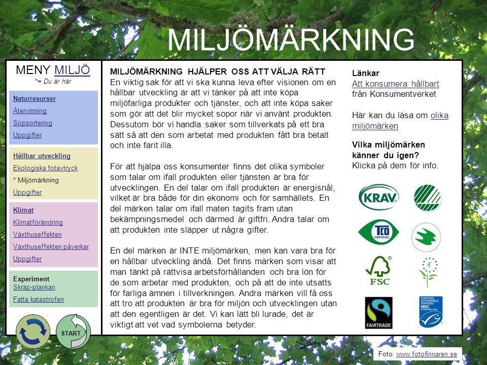 Foto: www.fotofinnaren.sewww.fotofinnaren.se START MILJÖMÄRKNING Länkar Att konsumera hållbart Att konsumera hållbart från Konsumentverket Här kan du