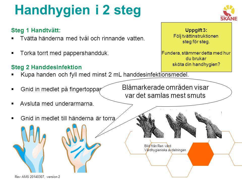 Rev AMS 20140307, version 2 Steg 1 Handtvätt:  Tvätta händerna med tvål och rinnande vatten.  Torka torrt med pappershandduk. Steg 2 Handdesinfektio