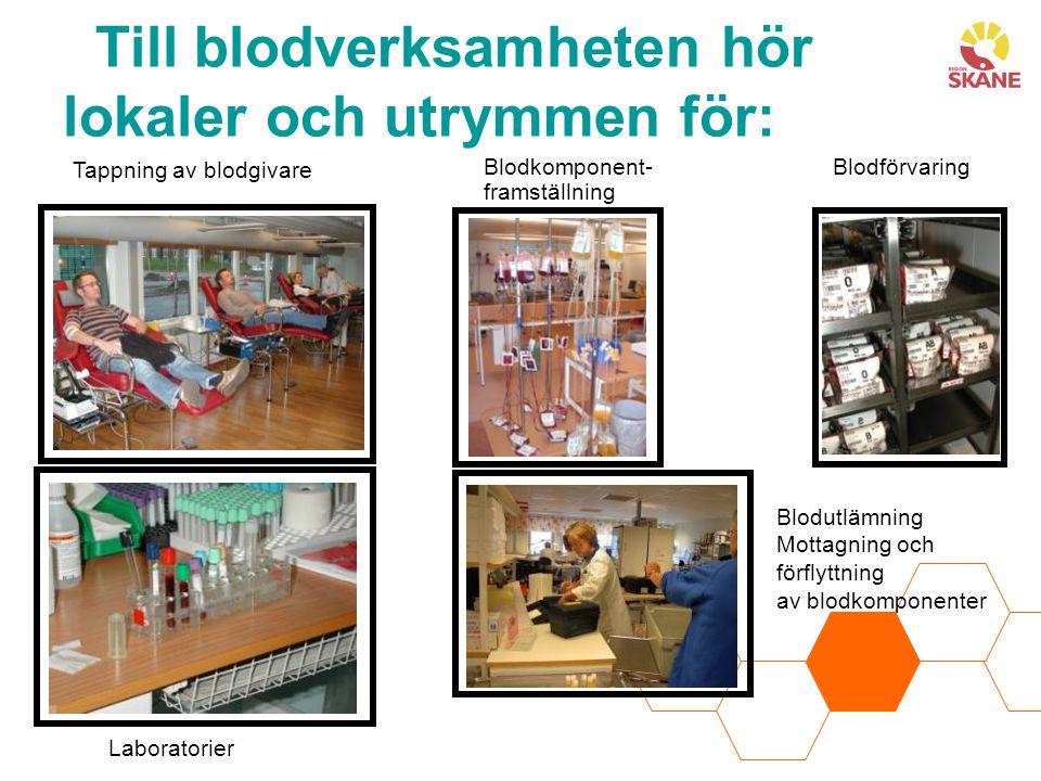 Tappning av blodgivare Blodkomponent- framställning Blodförvaring Laboratorier Blodutlämning Mottagning och förflyttning av blodkomponenter Till blodverksamheten hör lokaler och utrymmen för: