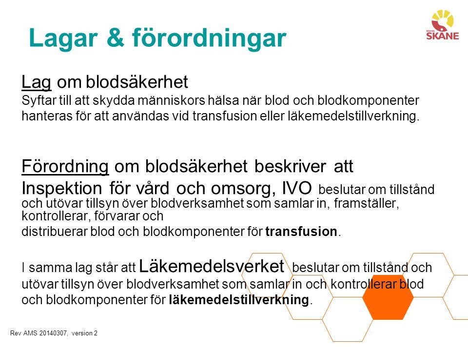 Lag om blodsäkerhet Syftar till att skydda människors hälsa när blod och blodkomponenter hanteras för att användas vid transfusion eller läkemedelstil