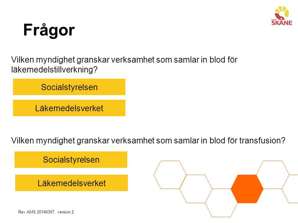 Frågor Socialstyrelsen Läkemedelsverket Vilken myndighet granskar verksamhet som samlar in blod för transfusion? Vilken myndighet granskar verksamhet