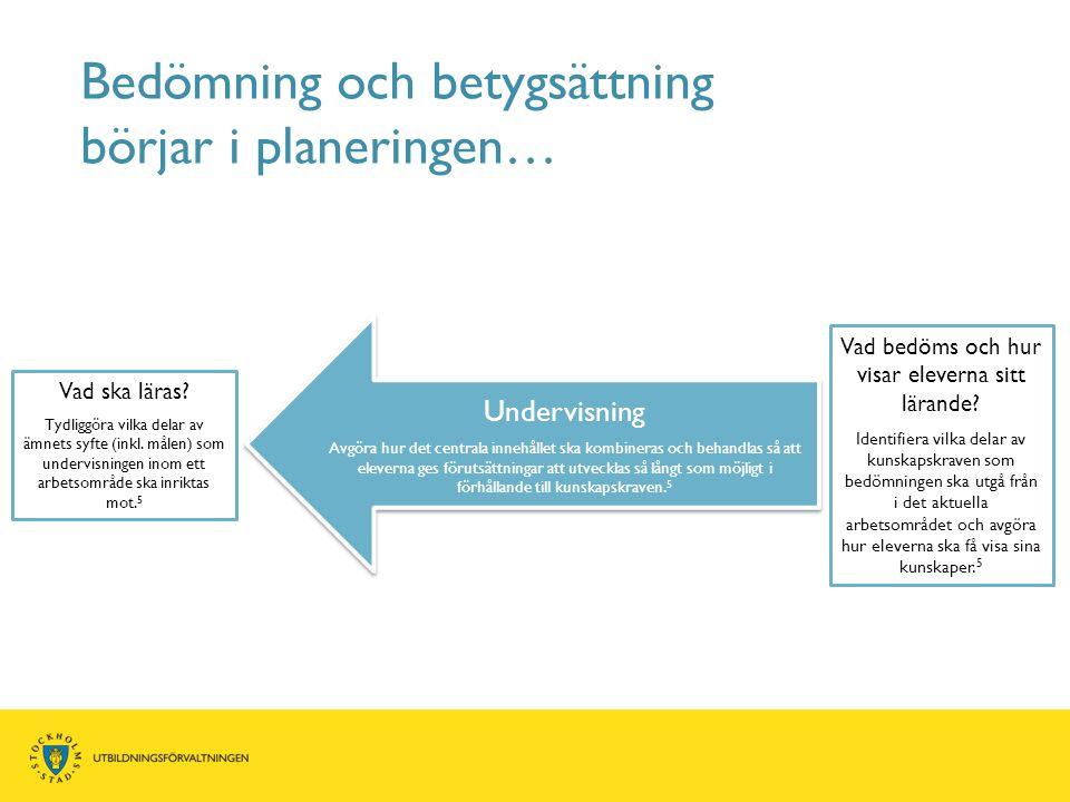 Bedömning och betygsättning börjar i planeringen… Vad ska läras? Tydliggöra vilka delar av ämnets syfte (inkl. målen) som undervisningen inom ett arbe
