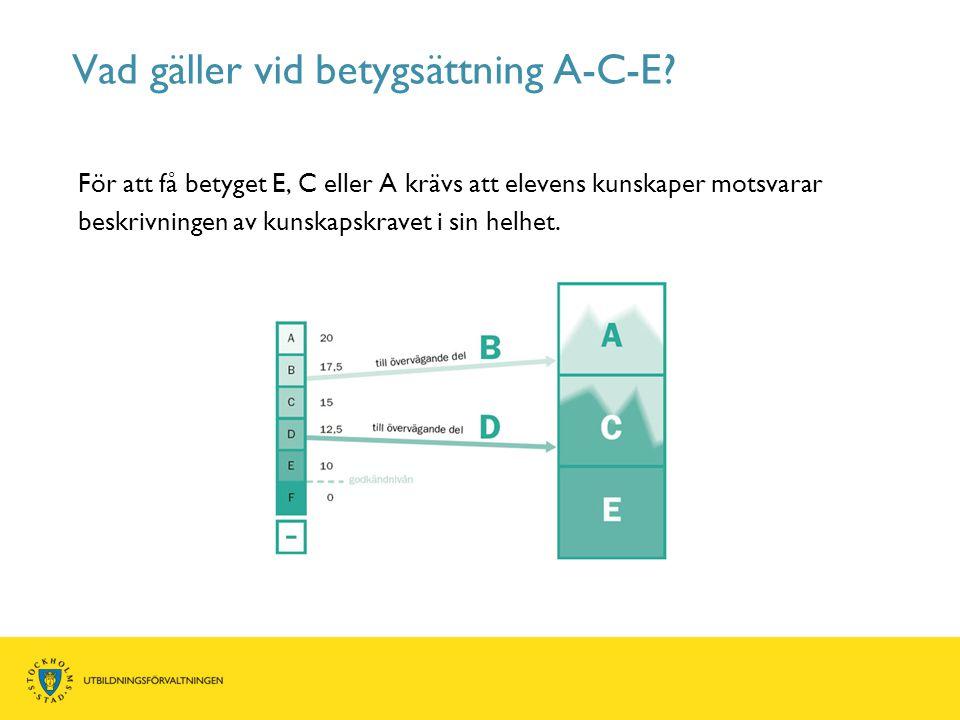Vad gäller vid betygsättning A-C-E? För att få betyget E, C eller A krävs att elevens kunskaper motsvarar beskrivningen av kunskapskravet i sin helhet