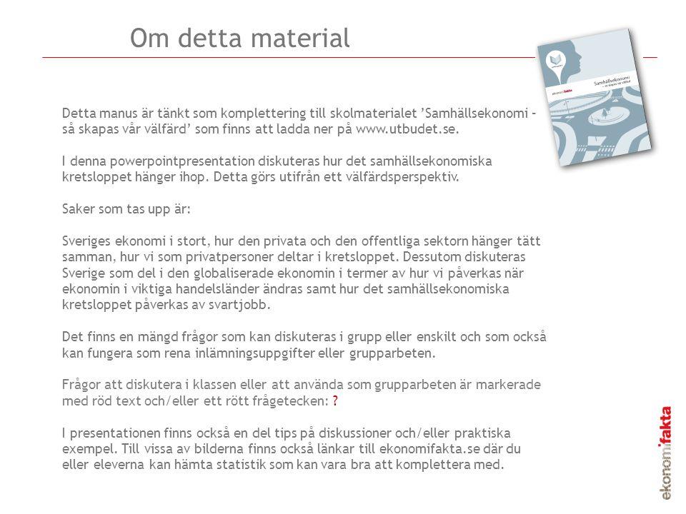 Detta manus är tänkt som komplettering till skolmaterialet 'Samhällsekonomi – så skapas vår välfärd' som finns att ladda ner på www.utbudet.se. I denn