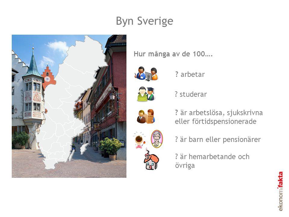Invånarna i Byn Sverige Byn Sverige 6 studerar 8 är arbetslösa, sjukskrivna eller förtidspensionerade 49 arbetar 34 är barn eller pensionärer Invånarna i byn Sverige 3 är hemarbetande och övriga.