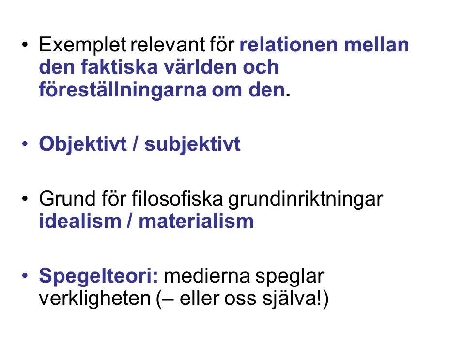 •Exemplet relevant för relationen mellan den faktiska världen och föreställningarna om den. •Objektivt / subjektivt •Grund för filosofiska grundinrikt